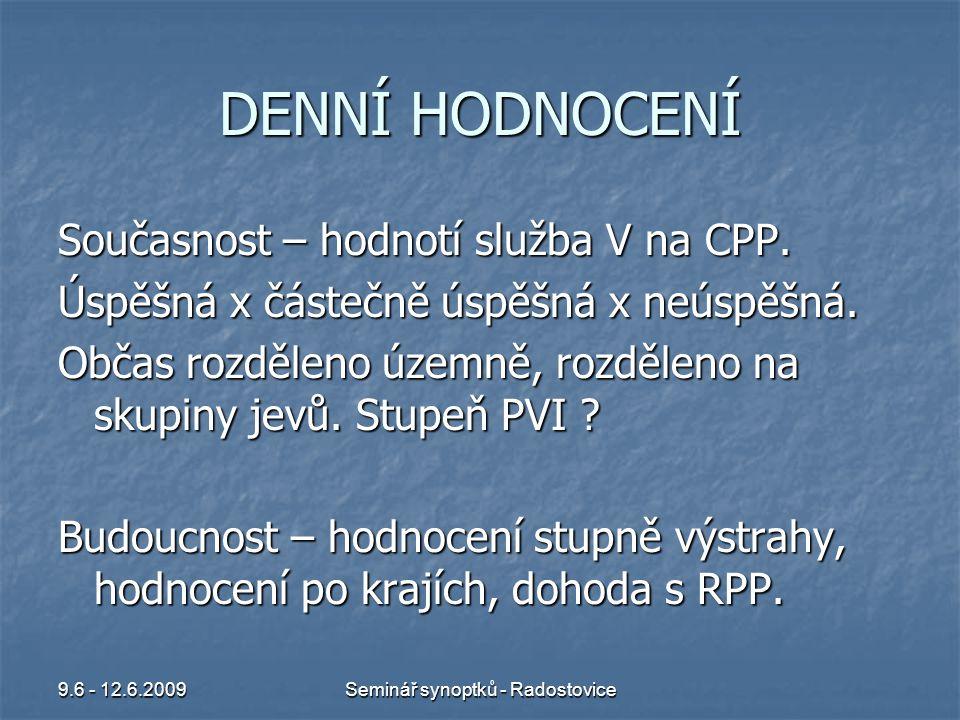 9.6 - 12.6.2009Seminář synoptků - Radostovice PŮLROČNÍ HODNOCENÍ Ponechat dosavadní stav.