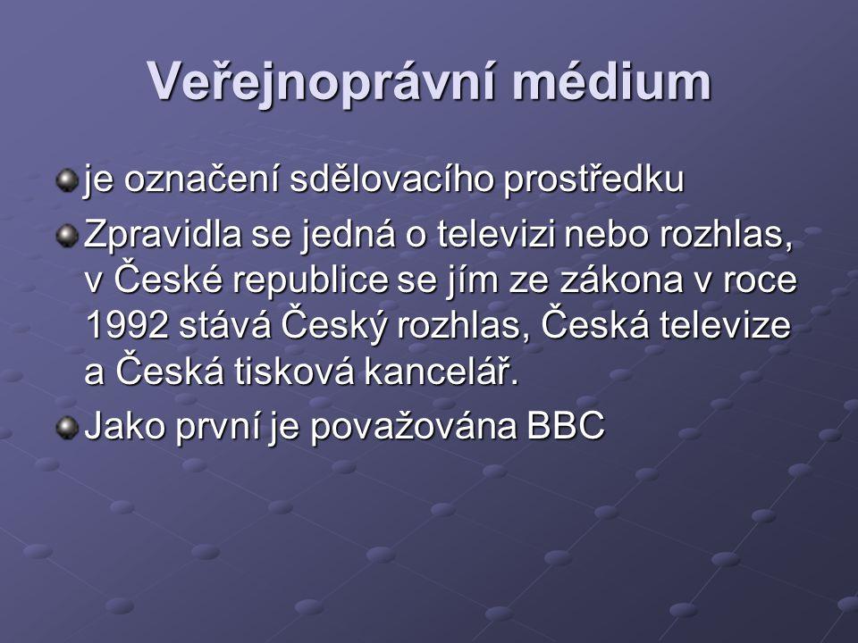Veřejnoprávní médium je označení sdělovacího prostředku Zpravidla se jedná o televizi nebo rozhlas, v České republice se jím ze zákona v roce 1992 stá