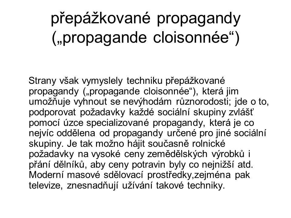 """přepážkované propagandy (""""propagande cloisonnée"""") Strany však vymyslely techniku přepážkované propagandy (""""propagande cloisonnée""""), která jim umožňuje"""