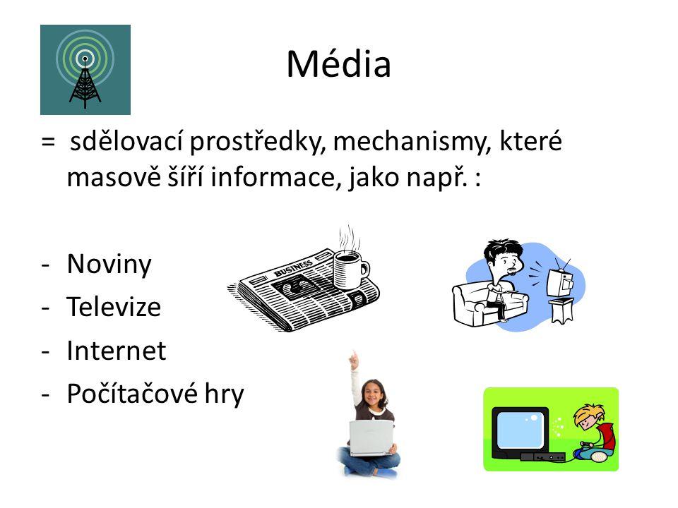 Média = sdělovací prostředky, mechanismy, které masově šíří informace, jako např. : -Noviny -Televize -Internet -Počítačové hry