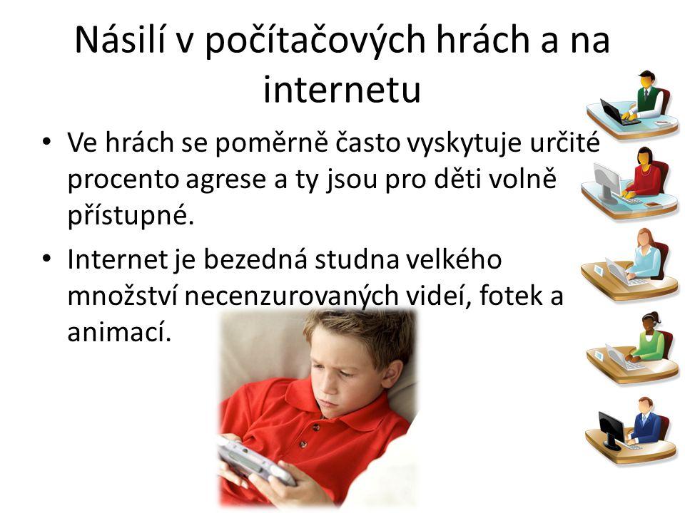 Násilí v počítačových hrách a na internetu Ve hrách se poměrně často vyskytuje určité procento agrese a ty jsou pro děti volně přístupné. Internet je