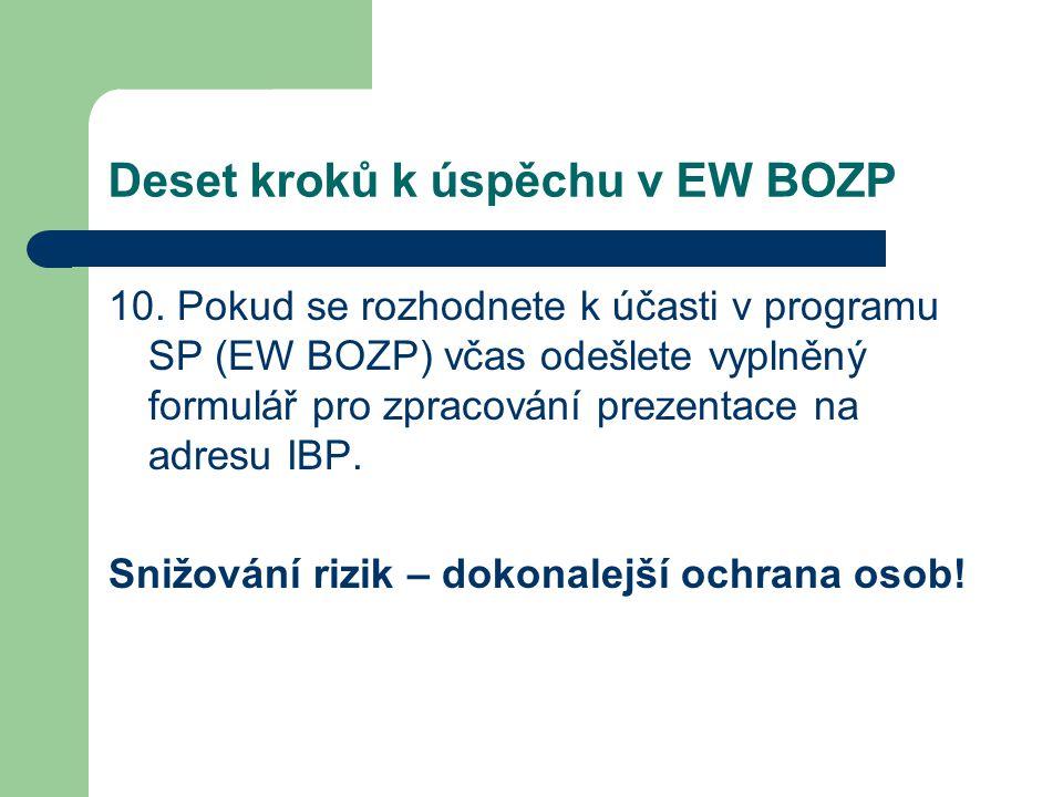Deset kroků k úspěchu v EW BOZP 10. Pokud se rozhodnete k účasti v programu SP (EW BOZP) včas odešlete vyplněný formulář pro zpracování prezentace na