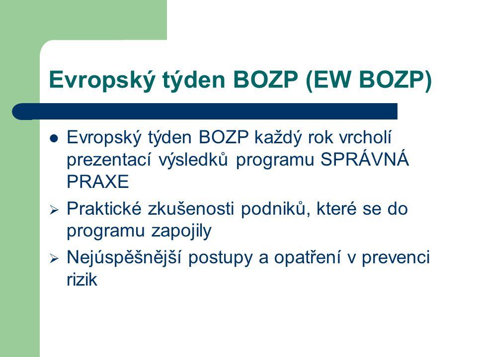 Evropský týden BOZP (EW BOZP) Evropský týden BOZP každý rok vrcholí prezentací výsledků programu SPRÁVNÁ PRAXE  Praktické zkušenosti podniků, které se do programu zapojily  Nejúspěšnější postupy a opatření v prevenci rizik