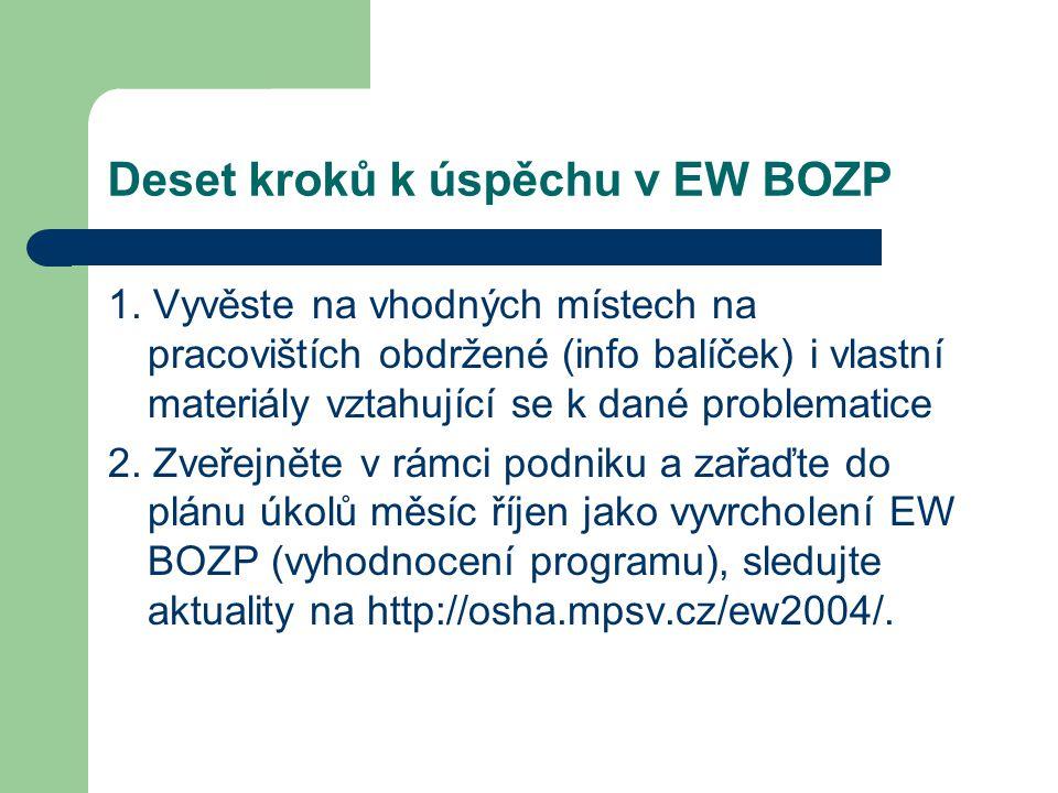 Deset kroků k úspěchu v EW BOZP 1. Vyvěste na vhodných místech na pracovištích obdržené (info balíček) i vlastní materiály vztahující se k dané proble