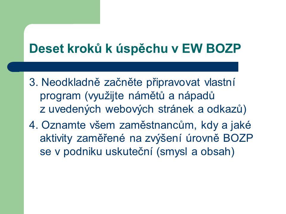 Deset kroků k úspěchu v EW BOZP 3. Neodkladně začněte připravovat vlastní program (využijte námětů a nápadů z uvedených webových stránek a odkazů) 4.