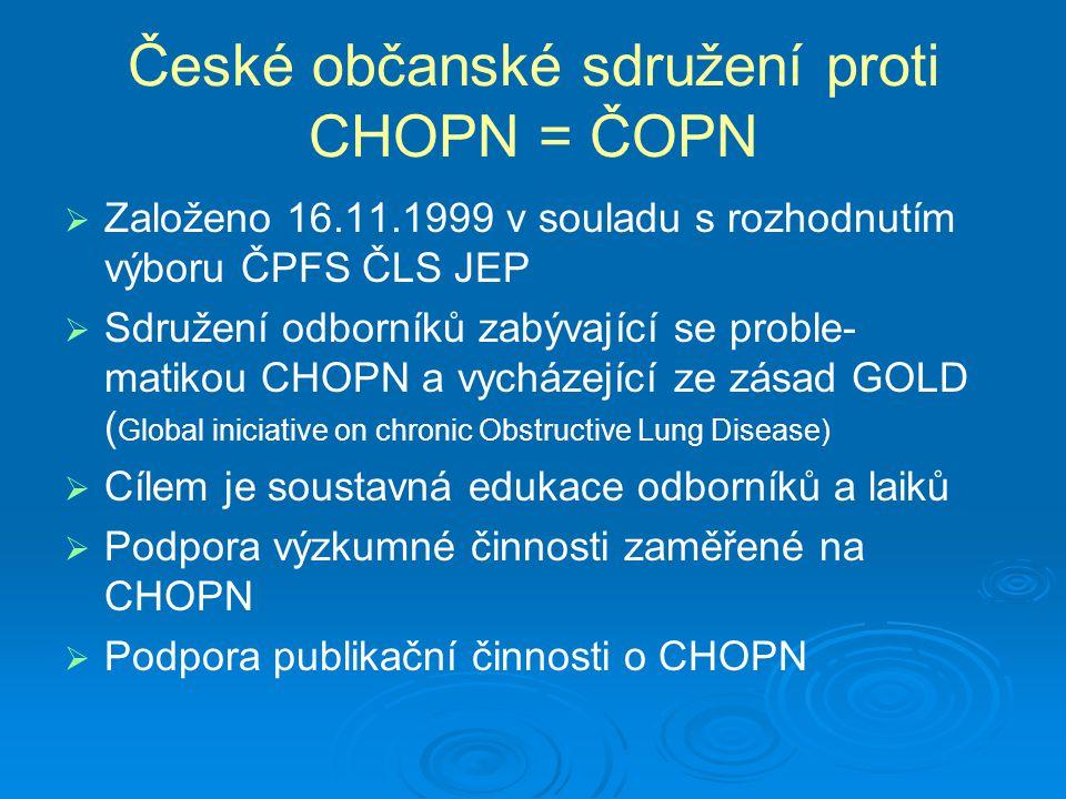 České občanské sdružení proti CHOPN = ČOPN   Založeno 16.11.1999 v souladu s rozhodnutím výboru ČPFS ČLS JEP   Sdružení odborníků zabývající se pr