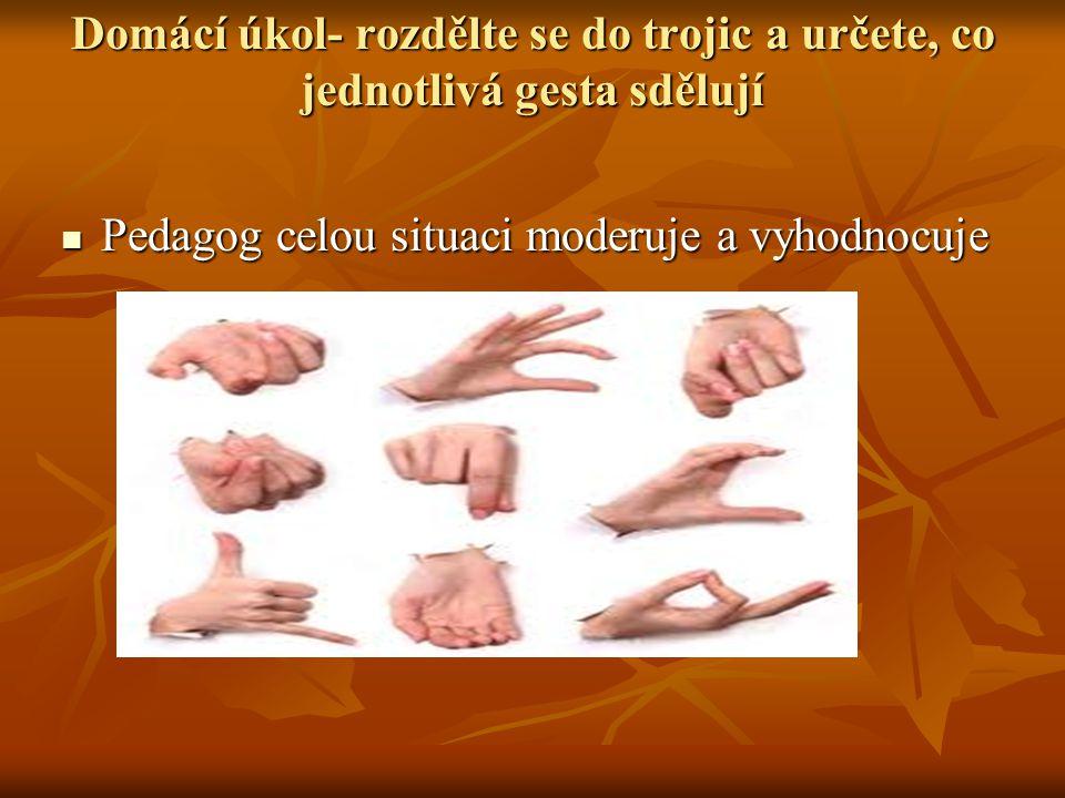Domácí úkol- rozdělte se do trojic a určete, co jednotlivá gesta sdělují Pedagog celou situaci moderuje a vyhodnocuje Pedagog celou situaci moderuje a vyhodnocuje