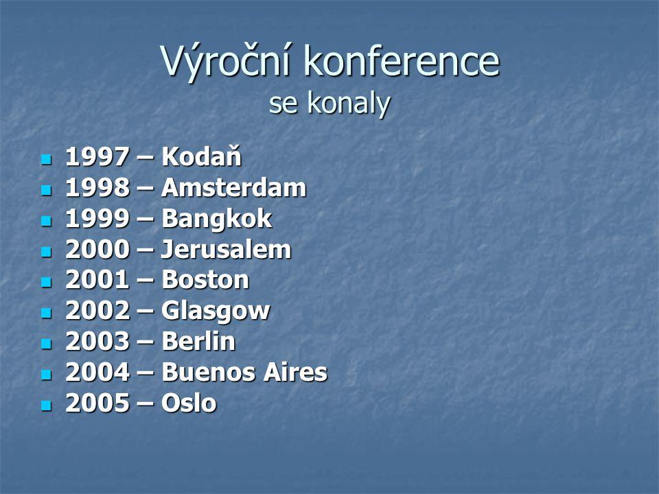 Výroční konference se konaly 1997 – Kodaň 1997 – Kodaň 1998 – Amsterdam 1998 – Amsterdam 1999 – Bangkok 1999 – Bangkok 2000 – Jerusalem 2000 – Jerusalem 2001 – Boston 2001 – Boston 2002 – Glasgow 2002 – Glasgow 2003 – Berlin 2003 – Berlin 2004 – Buenos Aires 2004 – Buenos Aires 2005 – Oslo 2005 – Oslo