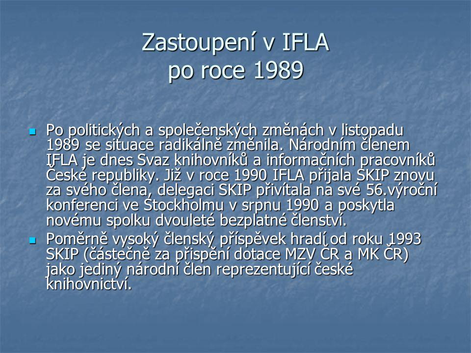 Zastoupení v IFLA po roce 1989 Po politických a společenských změnách v listopadu 1989 se situace radikálně změnila. Národním členem IFLA je dnes Svaz