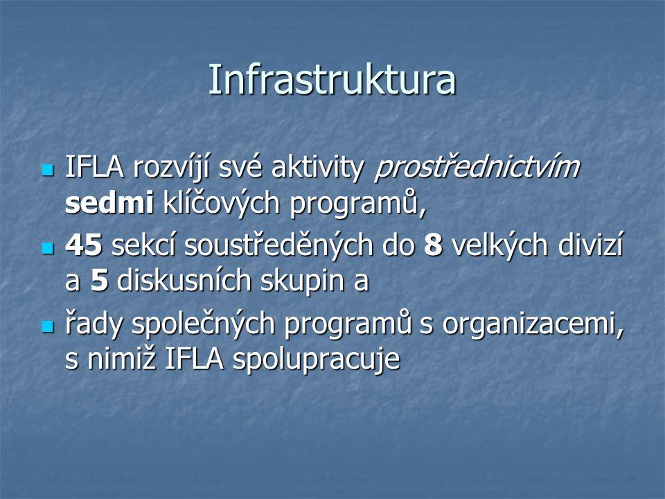 Infrastruktura IFLA rozvíjí své aktivity prostřednictvím sedmi klíčových programů, IFLA rozvíjí své aktivity prostřednictvím sedmi klíčových programů,