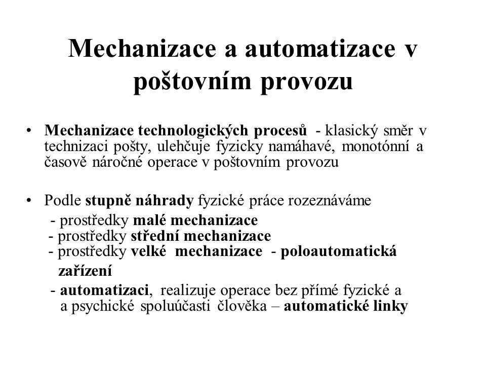 Mechanizace a automatizace v poštovním provozu Mechanizace technologických procesů - klasický směr v technizaci pošty, ulehčuje fyzicky namáhavé, mono