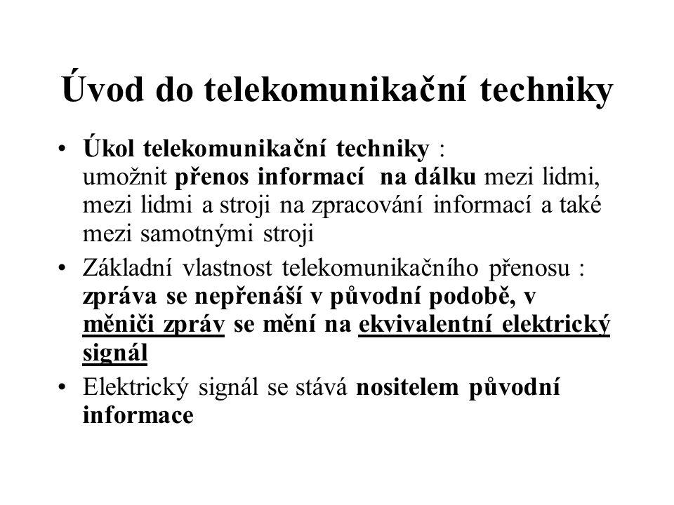 Úvod do telekomunikační techniky Úkol telekomunikační techniky : umožnit přenos informací na dálku mezi lidmi, mezi lidmi a stroji na zpracování infor