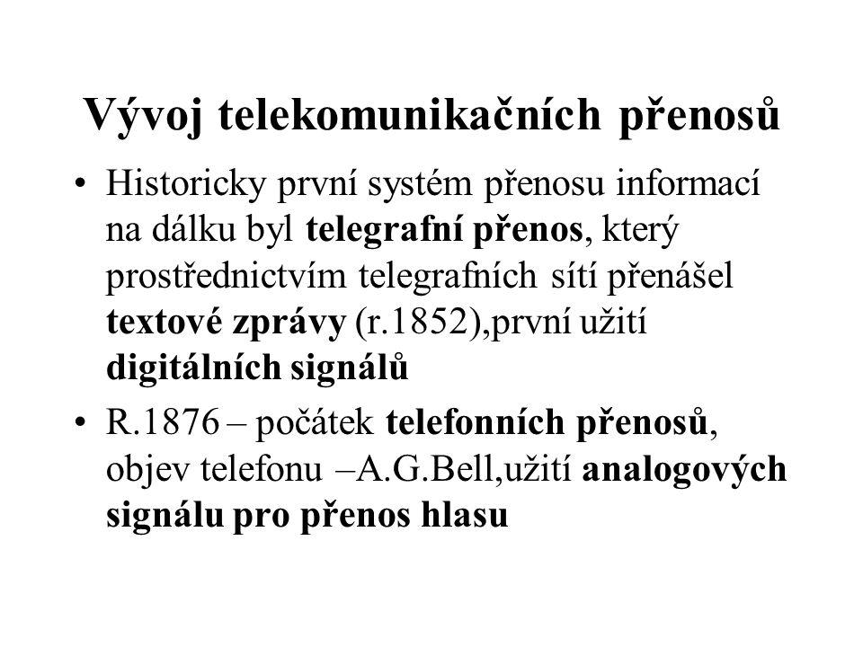 Vývoj telekomunikačních přenosů Historicky první systém přenosu informací na dálku byl telegrafní přenos, který prostřednictvím telegrafních sítí přen