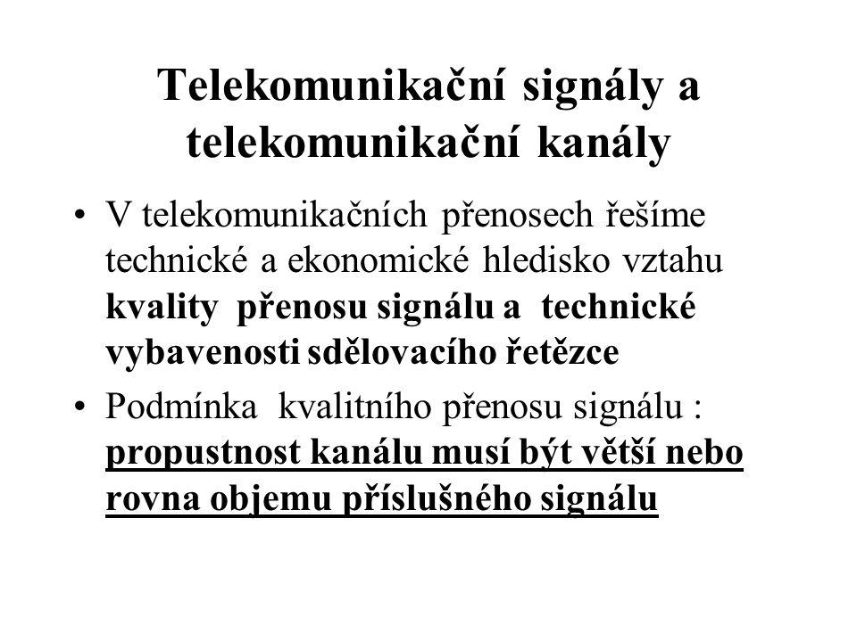 Telekomunikační signály a telekomunikační kanály V telekomunikačních přenosech řešíme technické a ekonomické hledisko vztahu kvality přenosu signálu a