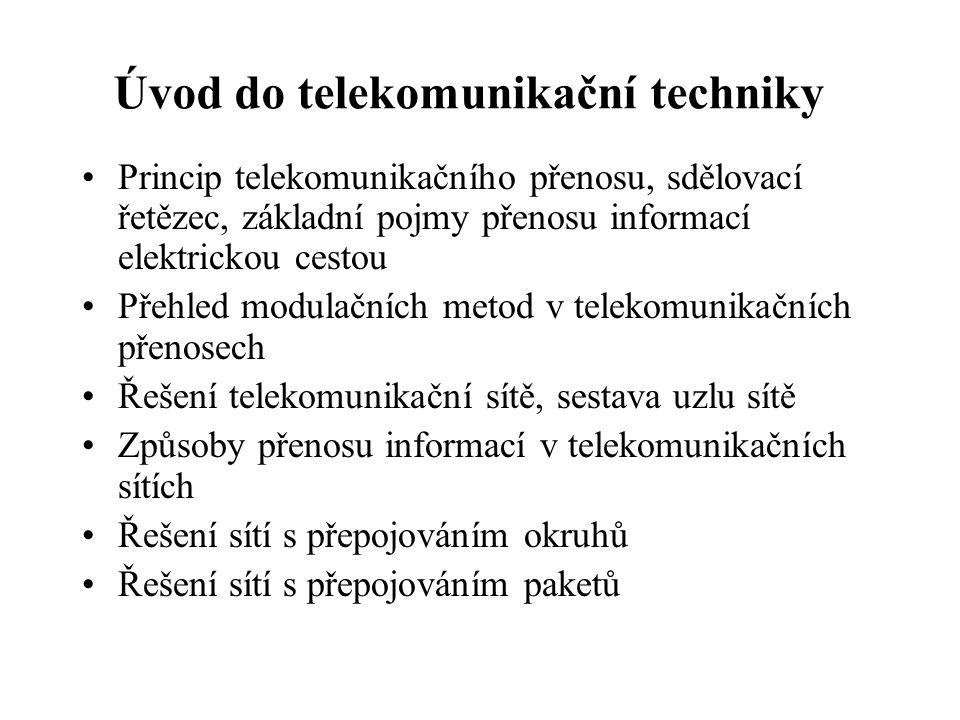 Úvod do telekomunikační techniky Princip telekomunikačního přenosu, sdělovací řetězec, základní pojmy přenosu informací elektrickou cestou Přehled mod