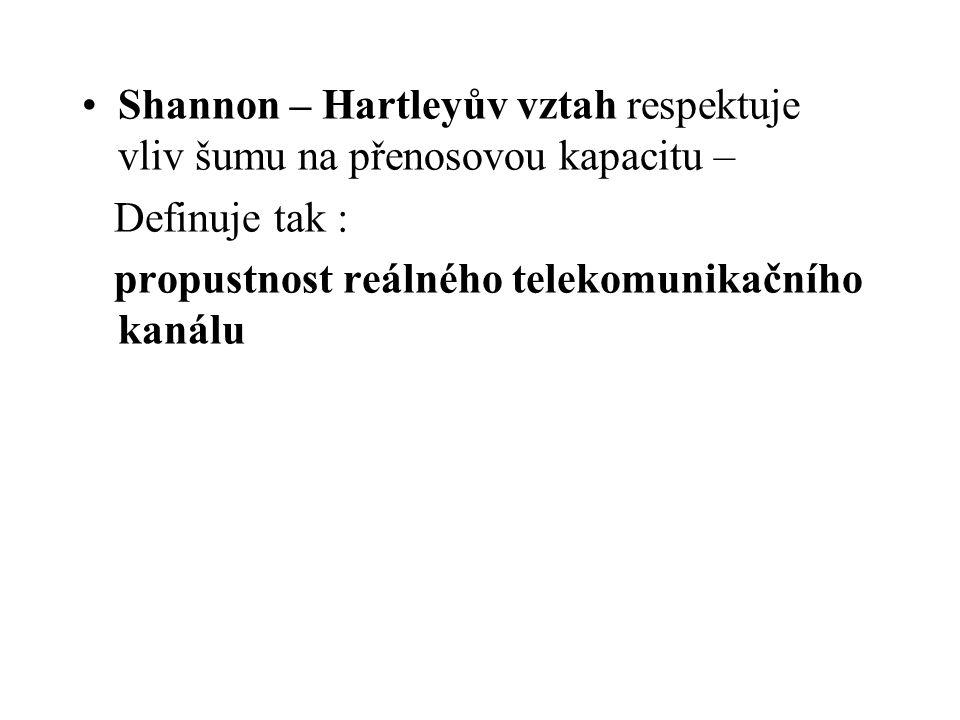 Shannon – Hartleyův vztah respektuje vliv šumu na přenosovou kapacitu – Definuje tak : propustnost reálného telekomunikačního kanálu