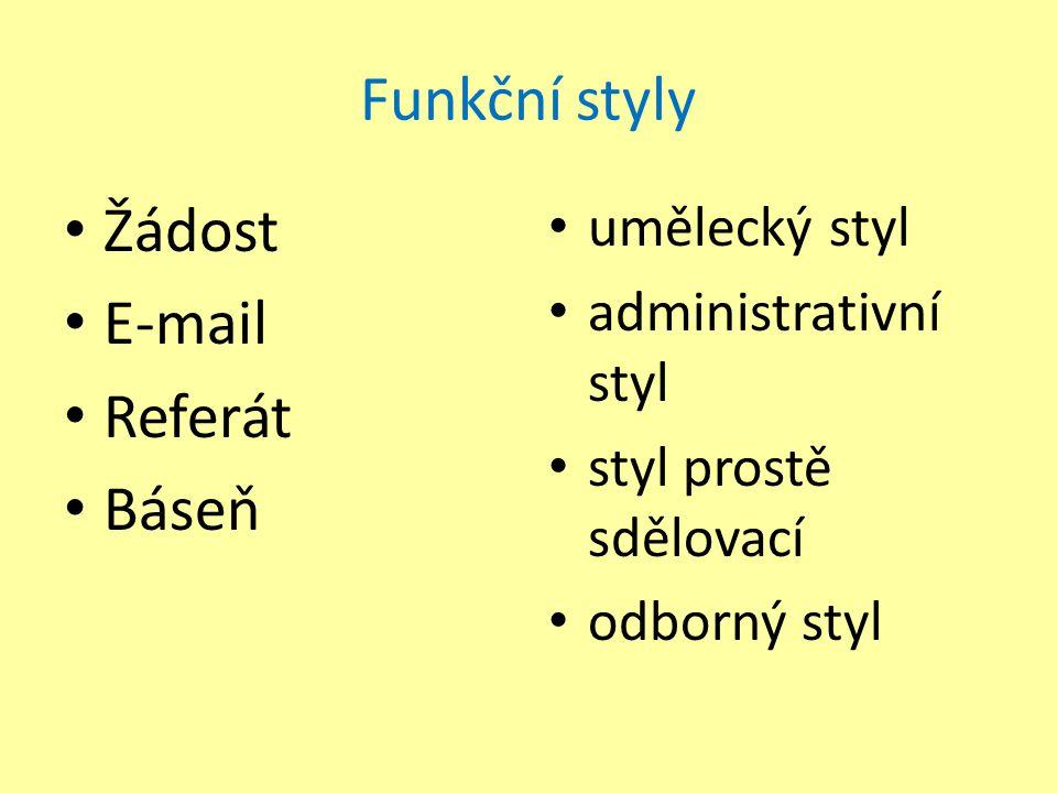 Funkční styly Žádost E-mail Referát Báseň umělecký styl administrativní styl styl prostě sdělovací odborný styl