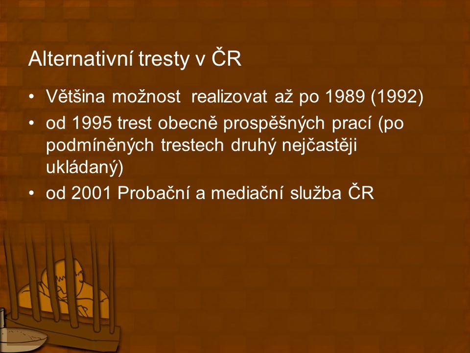 Alternativní tresty v ČR Většina možnost realizovat až po 1989 (1992) od 1995 trest obecně prospěšných prací (po podmíněných trestech druhý nejčastěji ukládaný) od 2001 Probační a mediační služba ČR