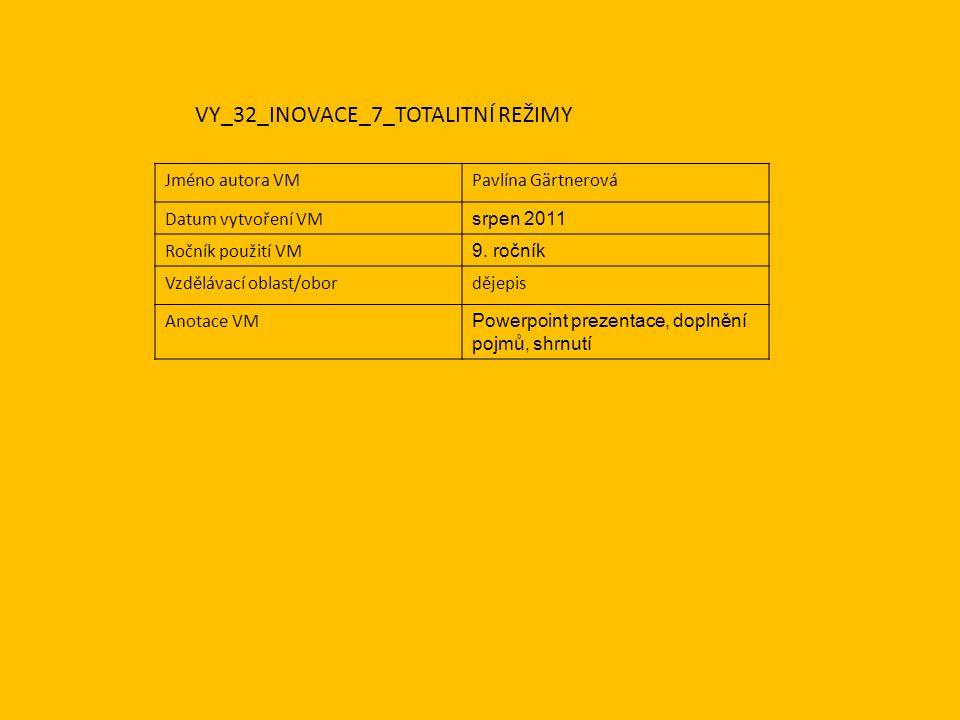 Jméno autora VMPavlína Gärtnerová Datum vytvoření VM srpen 2011 Ročník použití VM 9.