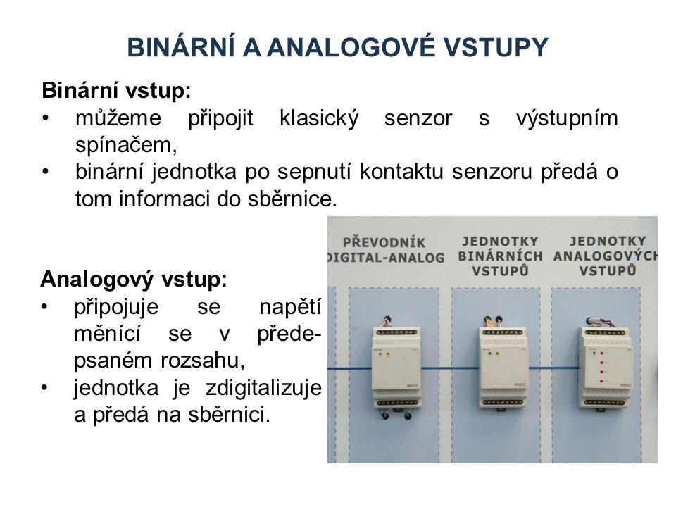 BINÁRNÍ A ANALOGOVÉ VSTUPY Binární vstup: můžeme připojit klasický senzor s výstupním spínačem, binární jednotka po sepnutí kontaktu senzoru předá o tom informaci do sběrnice.