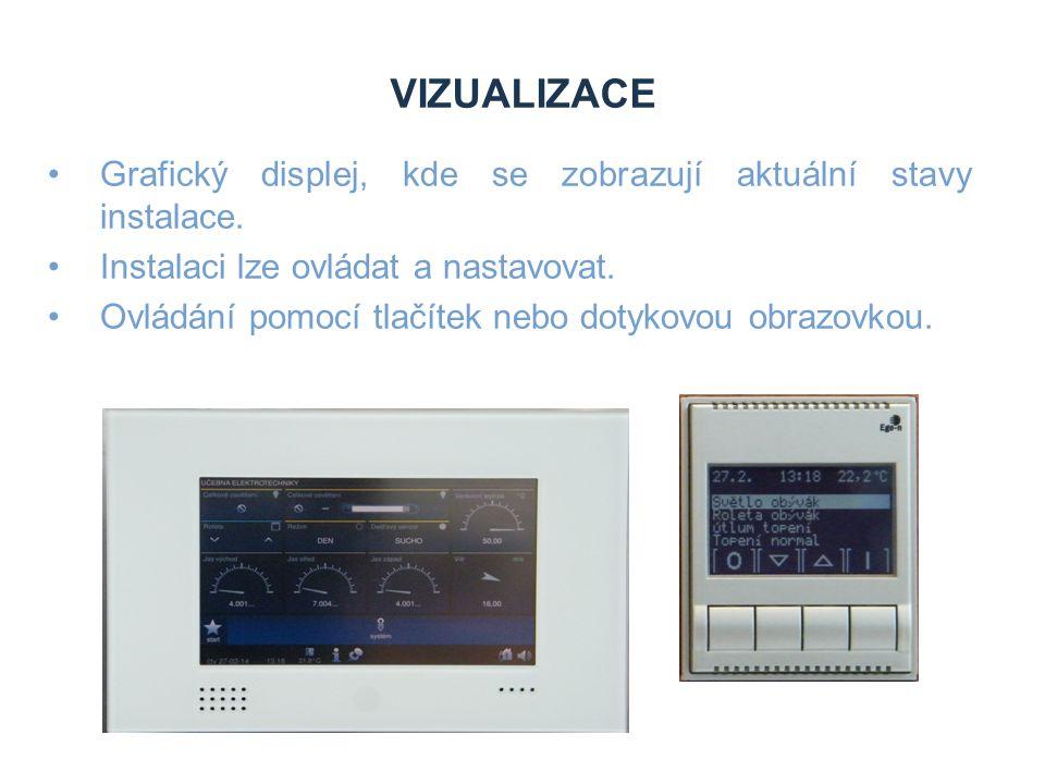 VIZUALIZACE Grafický displej, kde se zobrazují aktuální stavy instalace. Instalaci lze ovládat a nastavovat. Ovládání pomocí tlačítek nebo dotykovou o
