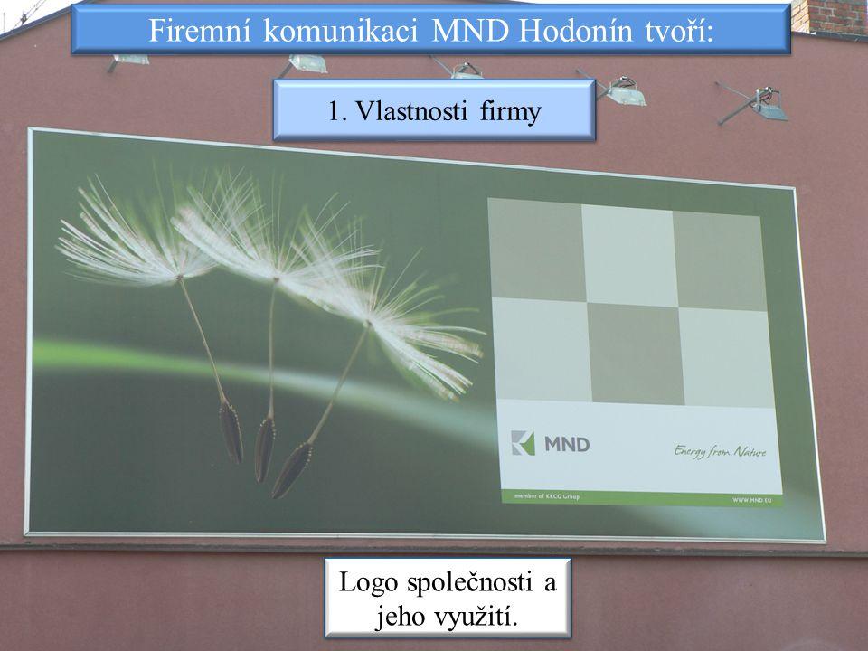 Firemní komunikaci MND Hodonín tvoří: 1. Vlastnosti firmy Logo společnosti a jeho využití.