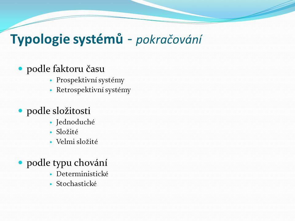 Typologie systémů - pokračování podle faktoru času Prospektivní systémy Retrospektivní systémy podle složitosti Jednoduché Složité Velmi složité podle