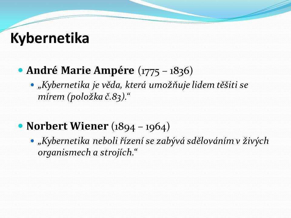"""Kybernetika André Marie Ampére (1775 – 1836) """"Kybernetika je věda, která umožňuje lidem těšiti se mírem (položka č.83)."""" Norbert Wiener (1894 – 1964)"""