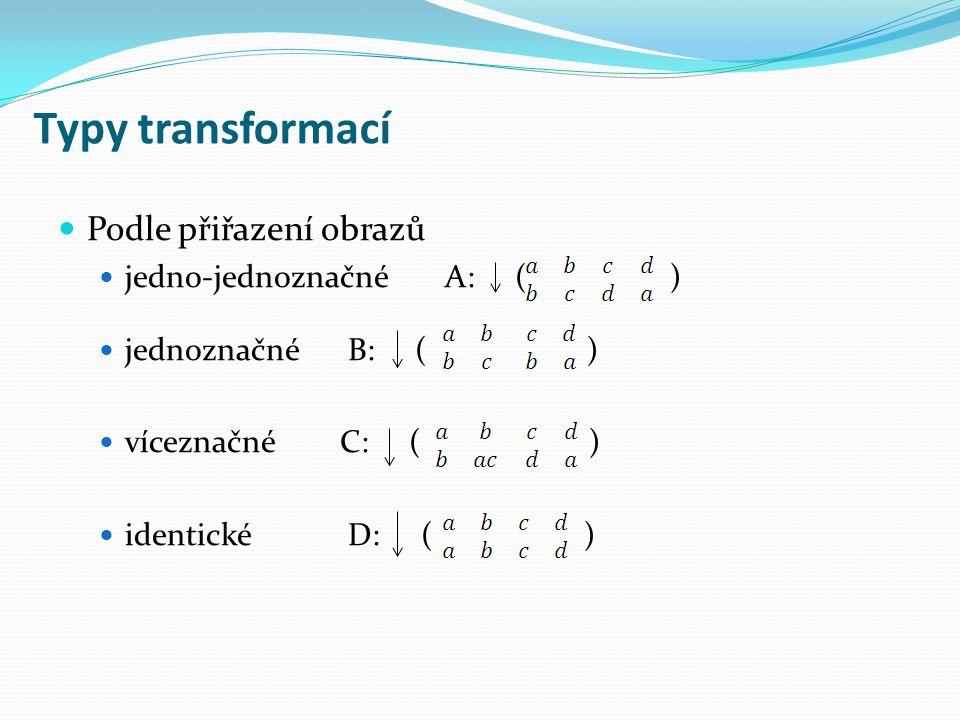 Typy transformací Podle přiřazení obrazů jedno-jednoznačné A: ( ) jednoznačné B: ( ) víceznačné C: ( ) identické D: ( )
