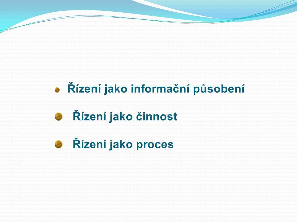 Řízení jako informační působení Řízení jako činnost Řízení jako proces