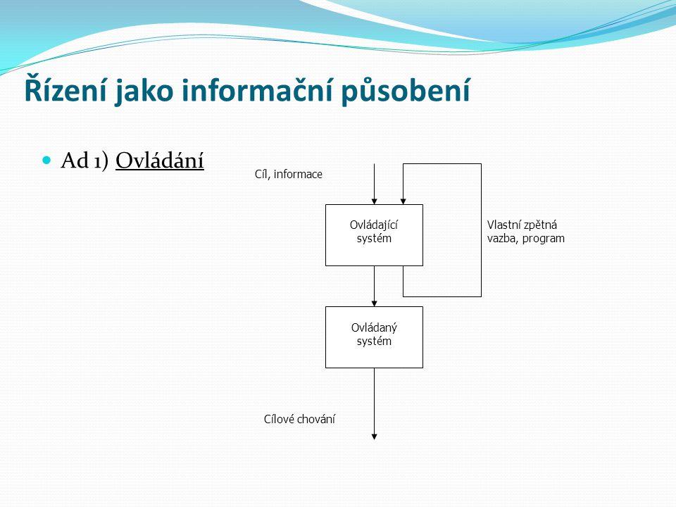 Řízení jako informační působení Ad 2) Řízení řídící systém řízený systém Cíl, informace Cílové chování Vlastní zpětná vazba, program zpětná vazba (kontrola)