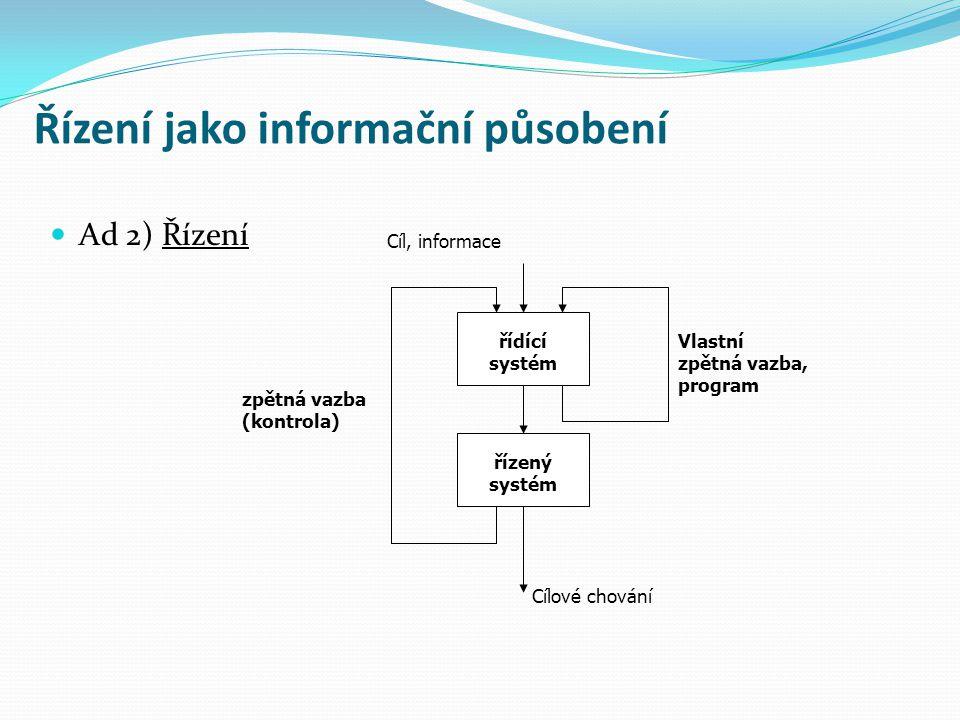 Řízení jako informační působení Ad 3) Regulace regulační působení Cíl, informace řídícící systém řízený systém Cílové chování Vlastní zpětná vazba, program Regulační systém sledování odchylek podmínky stability