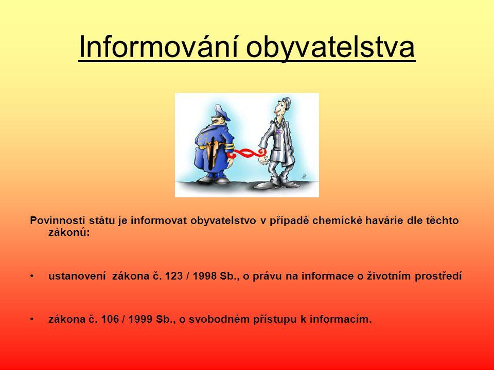 Informování obyvatelstva Povinností státu je informovat obyvatelstvo v případě chemické havárie dle těchto zákonů: ustanovení zákona č. 123 / 1998 Sb.
