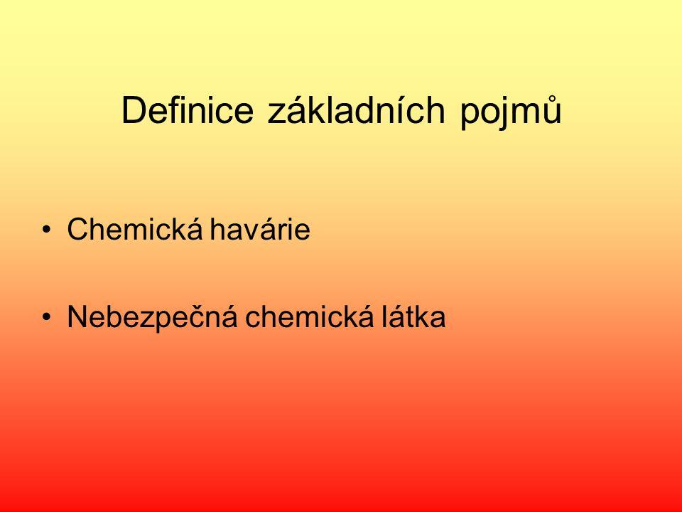Definice základních pojmů Chemická havárie Nebezpečná chemická látka