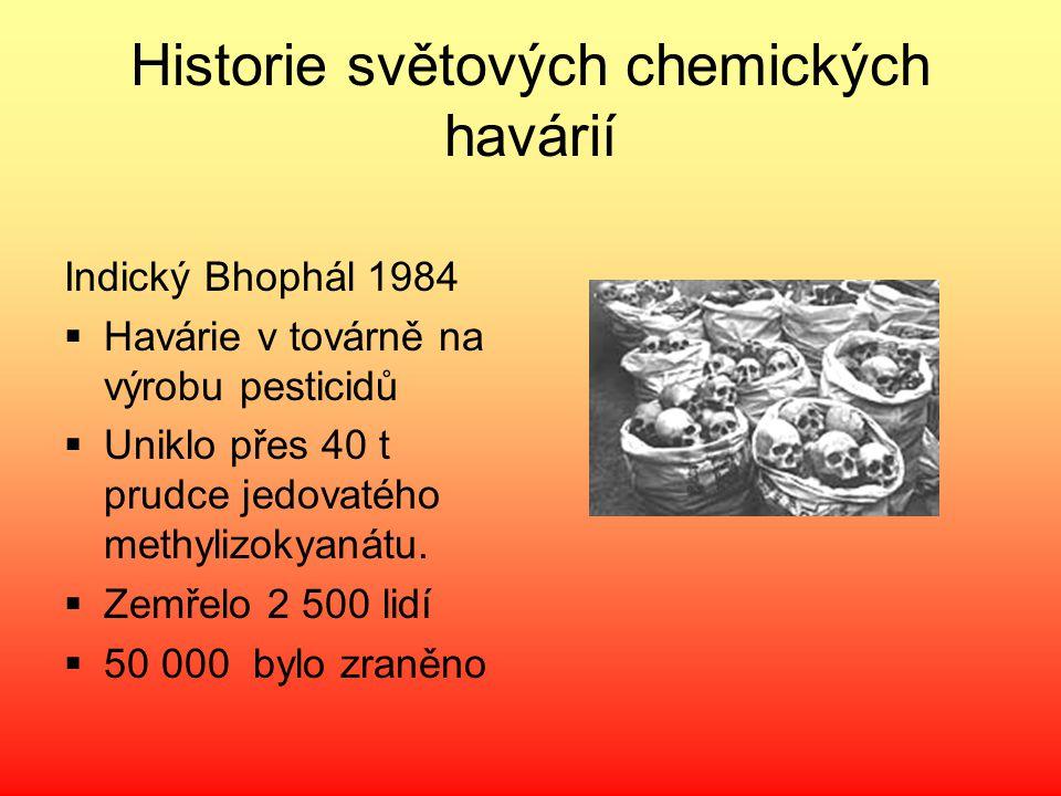 Historie světových chemických havárií Indický Bhophál 1984  Havárie v továrně na výrobu pesticidů  Uniklo přes 40 t prudce jedovatého methylizokyaná
