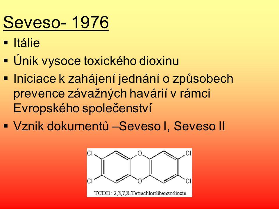 Seveso- 1976 IItálie ÚÚnik vysoce toxického dioxinu IIniciace k zahájení jednání o způsobech prevence závažných havárií v rámci Evropského spole