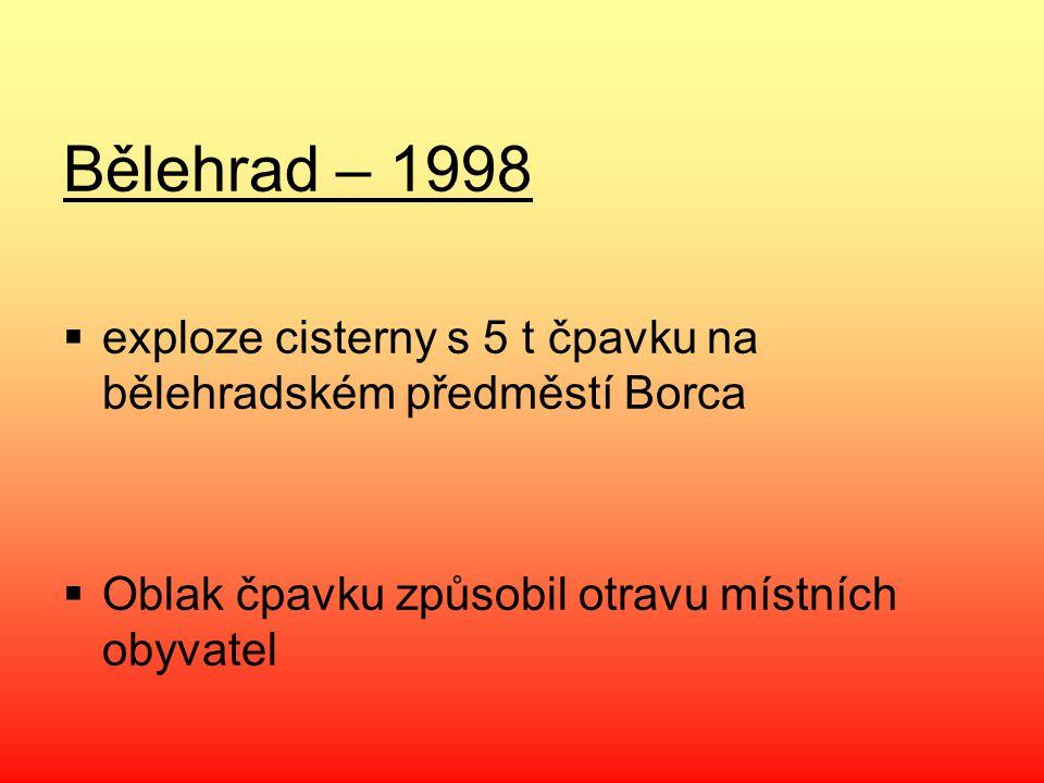 Bělehrad – 1998  exploze cisterny s 5 t čpavku na bělehradském předměstí Borca  Oblak čpavku způsobil otravu místních obyvatel
