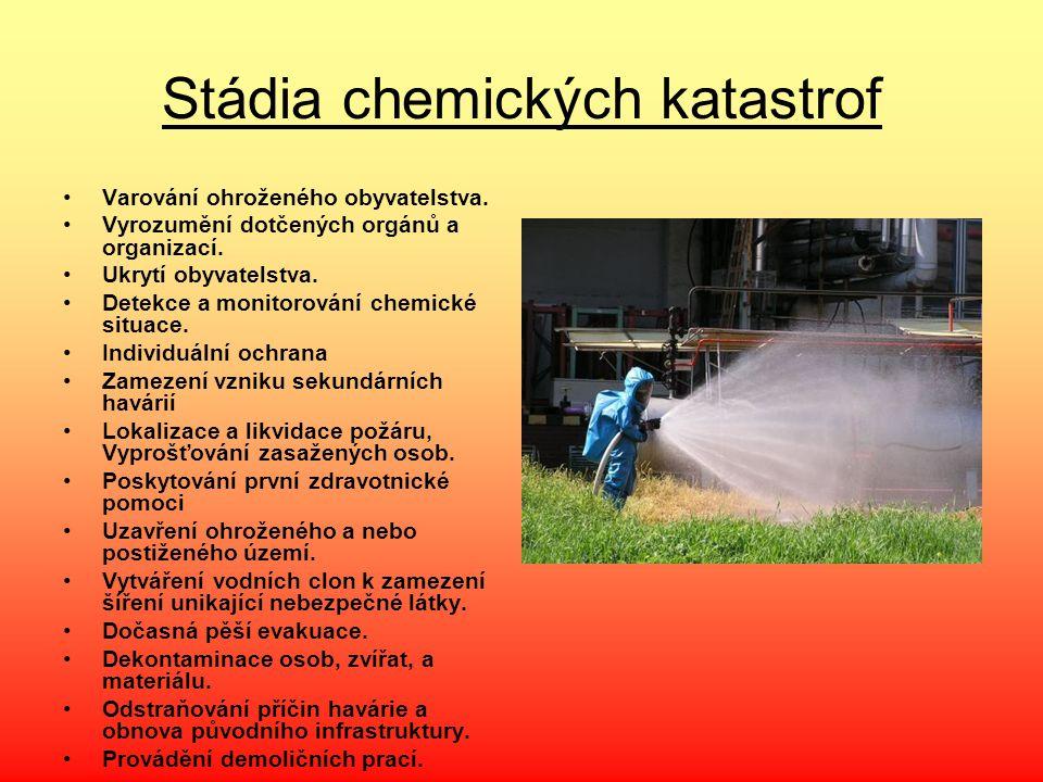 Stádia chemických katastrof Varování ohroženého obyvatelstva. Vyrozumění dotčených orgánů a organizací. Ukrytí obyvatelstva. Detekce a monitorování ch