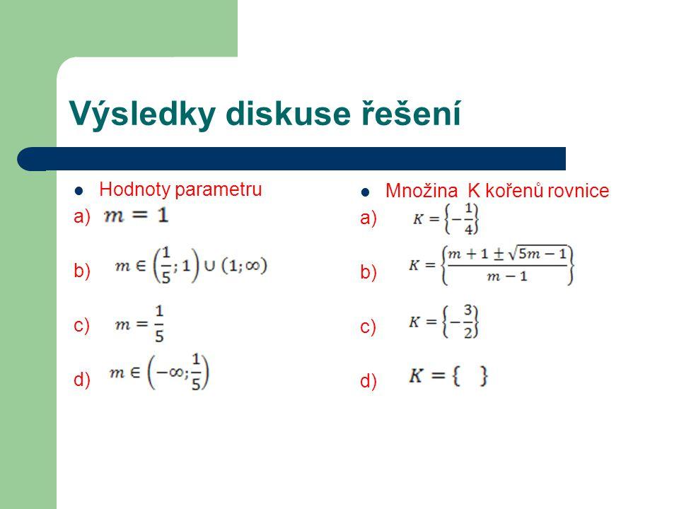 Výsledky diskuse řešení Hodnoty parametru a) b) c) d) Množina K kořenů rovnice a) b) c) d)