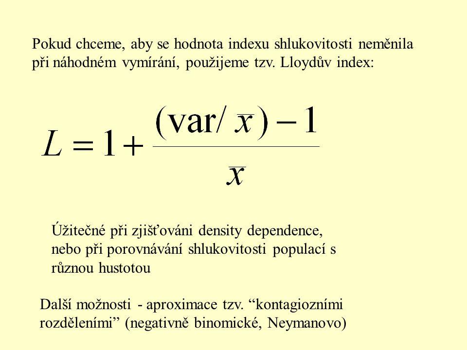 Pokud chceme, aby se hodnota indexu shlukovitosti neměnila při náhodném vymírání, použijeme tzv. Lloydův index: Úžitečné při zjišťováni density depend