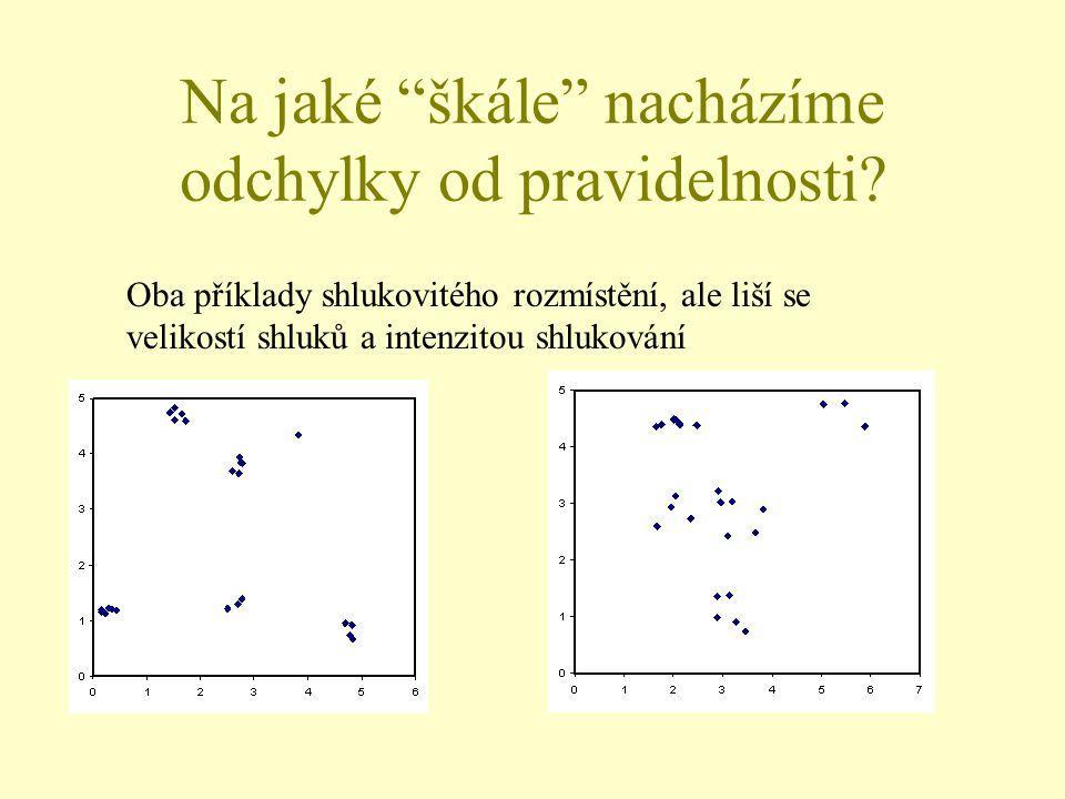 """Na jaké """"škále"""" nacházíme odchylky od pravidelnosti? Oba příklady shlukovitého rozmístění, ale liší se velikostí shluků a intenzitou shlukování"""