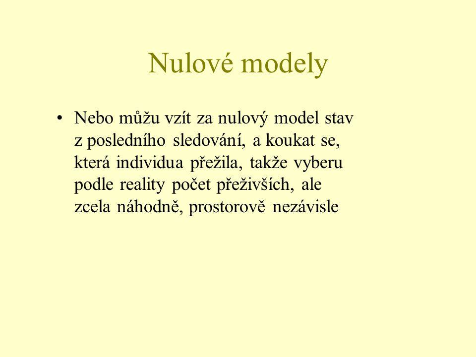 Nulové modely Nebo můžu vzít za nulový model stav z posledního sledování, a koukat se, která individua přežila, takže vyberu podle reality počet přeži