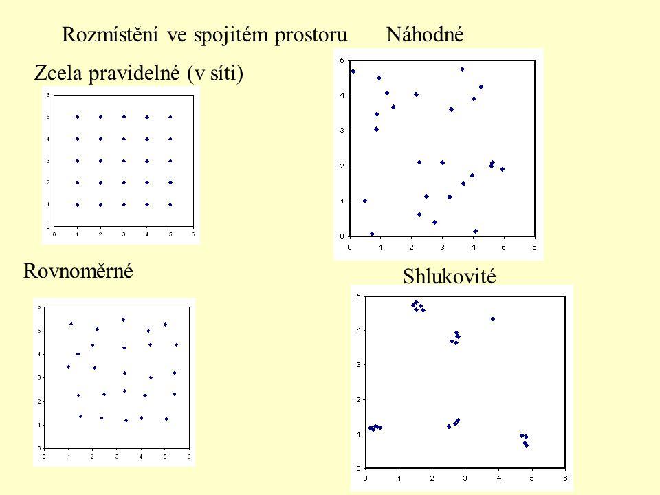 Rozmístění ve spojitém prostoru Zcela pravidelné (v síti) Rovnoměrné Náhodné Shlukovité