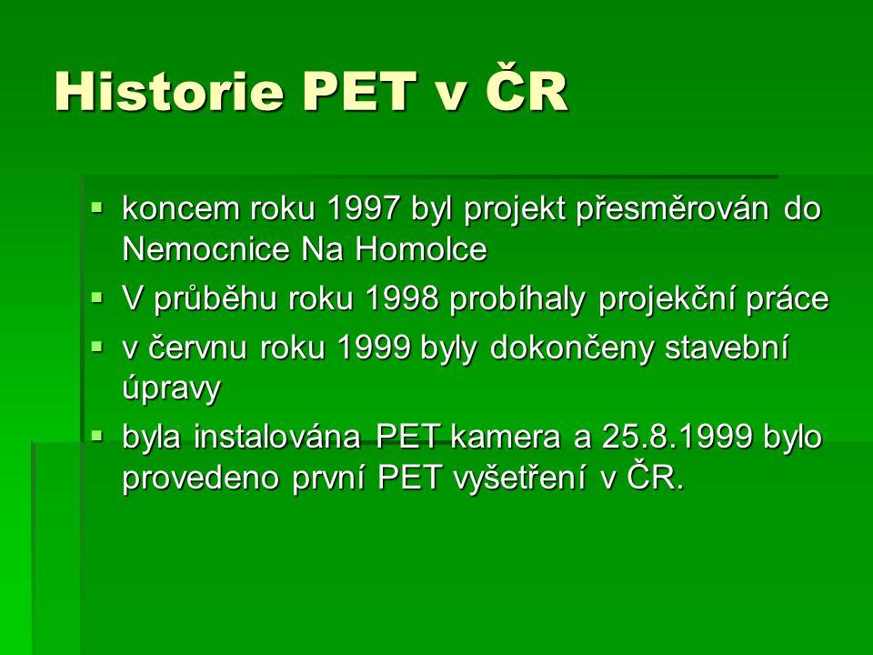 Historie PET v ČR  koncem roku 1997 byl projekt přesměrován do Nemocnice Na Homolce  V průběhu roku 1998 probíhaly projekční práce  v červnu roku 1