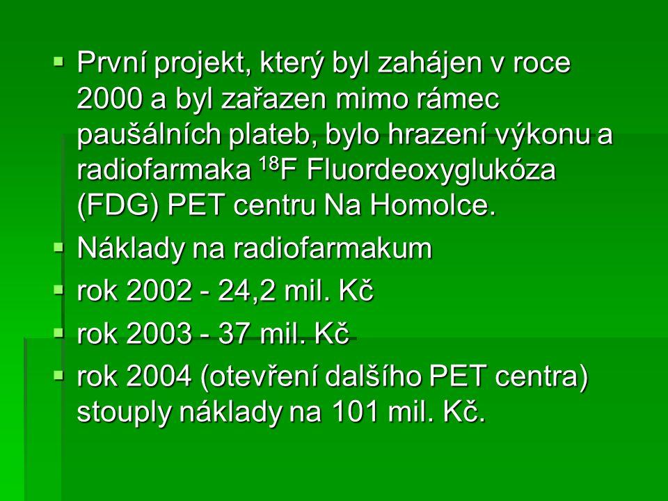  První projekt, který byl zahájen v roce 2000 a byl zařazen mimo rámec paušálních plateb, bylo hrazení výkonu a radiofarmaka 18 F Fluordeoxyglukóza (