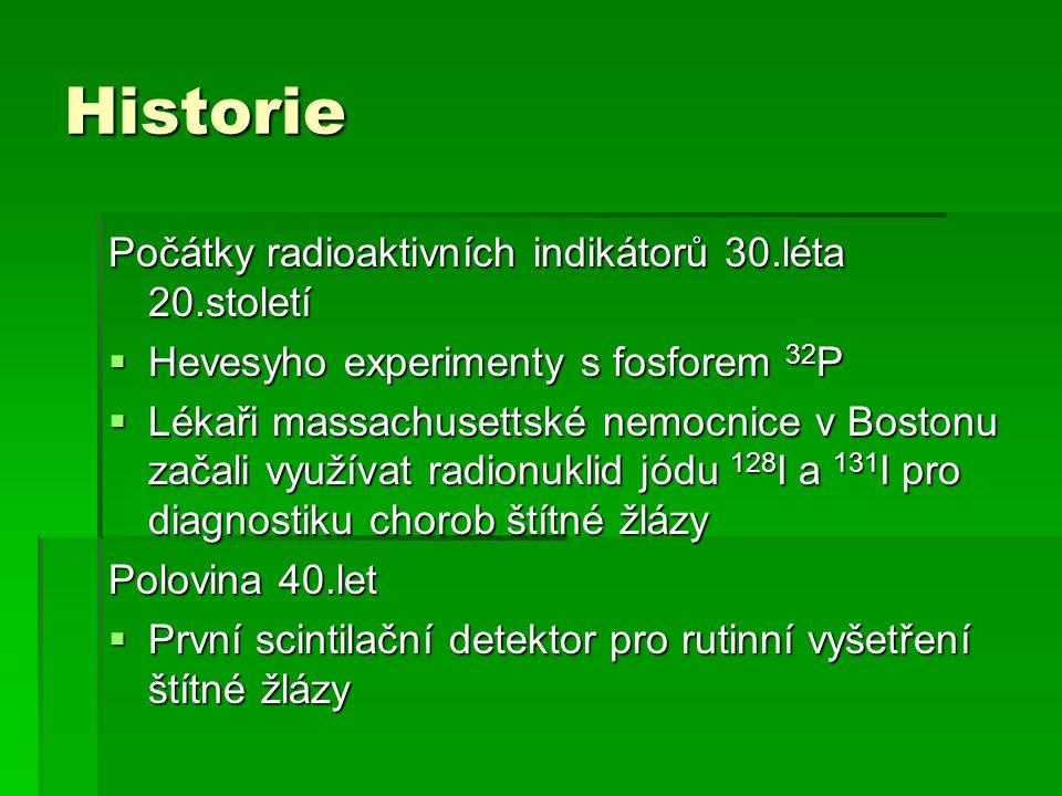 Historie Počátky radioaktivních indikátorů 30.léta 20.století  Hevesyho experimenty s fosforem 32 P  Lékaři massachusettské nemocnice v Bostonu zača