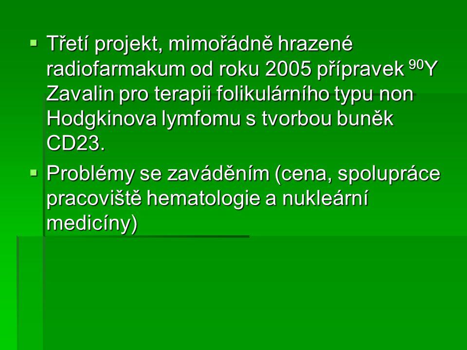  Třetí projekt, mimořádně hrazené radiofarmakum od roku 2005 přípravek 90 Y Zavalin pro terapii folikulárního typu non Hodgkinova lymfomu s tvorbou b