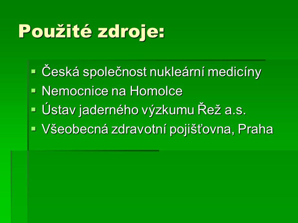 Použité zdroje:  Česká společnost nukleární medicíny  Nemocnice na Homolce  Ústav jaderného výzkumu Řež a.s.  Všeobecná zdravotní pojišťovna, Prah