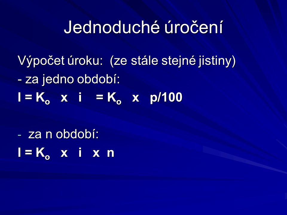 Jednoduché úročení Výpočet úroku: (ze stále stejné jistiny) - za jedno období: I = K o x i = K o x p/100 - za n období: I = K o x i x n