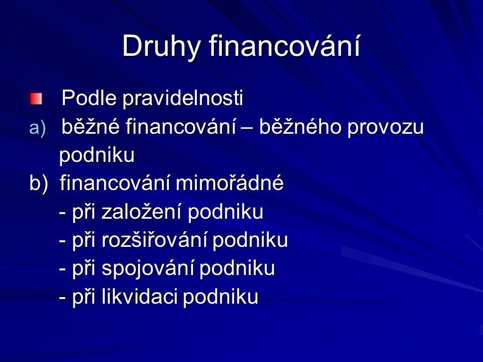 Druhy financování Podle pravidelnosti a) běžné financování – běžného provozu podniku podniku b) financování mimořádné - při založení podniku - při zal